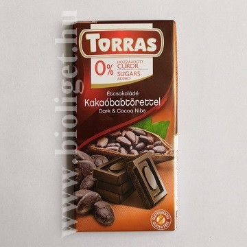 Torras étcsokoládé kakaóbabtörettel